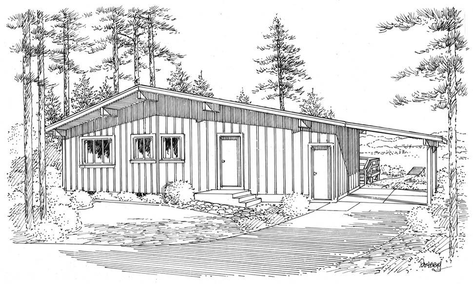 Contemporary, One-Story, Retro House Plan 1074 with 3 Beds, 2 Baths, 1 Car Garage Rear Elevation