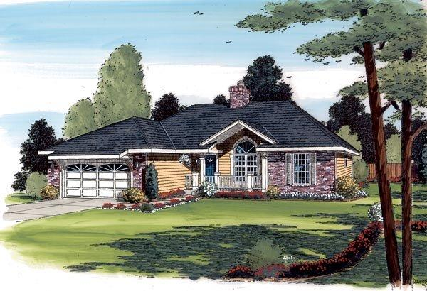 Country, Ranch, Traditional House Plan 20220 with 3 Beds, 2 Baths, 2 Car Garage Elevation