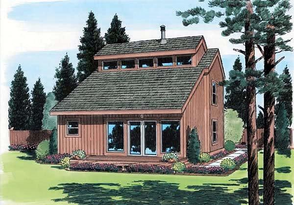 Contemporary, Retro House Plan 24313 with 2 Beds, 2 Baths Elevation
