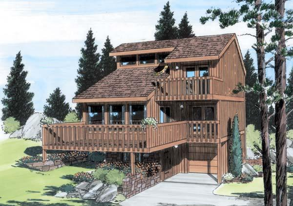 Contemporary House Plan 24319 with 3 Beds, 2 Baths, 1 Car Garage Elevation