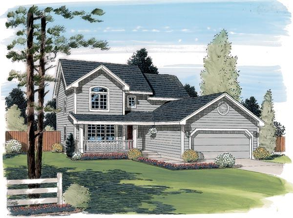 Country, Traditional House Plan 24324 with 3 Beds, 3 Baths, 2 Car Garage Elevation