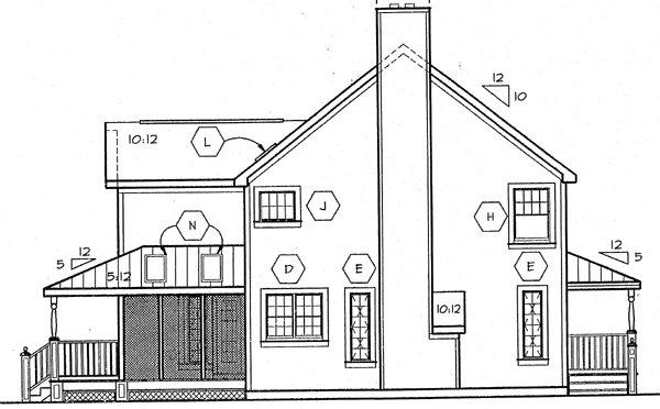 Country, Farmhouse, Traditional House Plan 24724 with 4 Beds, 3 Baths Rear Elevation