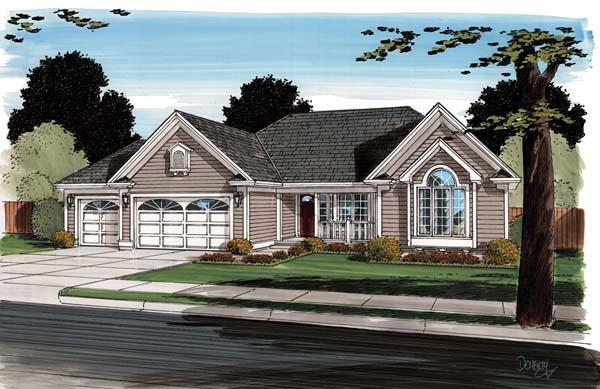 Contemporary, Ranch, Traditional House Plan 24745 with 3 Beds, 2 Baths, 3 Car Garage Elevation