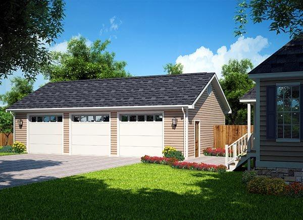 Country, Ranch, Traditional 3 Car Garage Plan 30002 Elevation