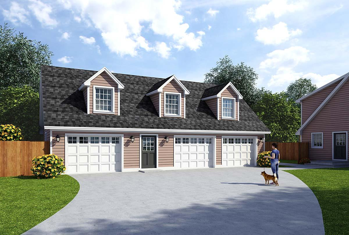 Cape Cod, Country, Traditional 3 Car Garage Apartment Plan 30032 with 2 Beds, 2 Baths Elevation