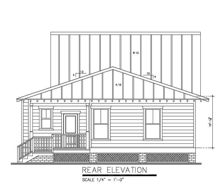 Bungalow, Cottage, Country House Plan 30502 with 3 Beds, 2 Baths, 2 Car Garage Rear Elevation