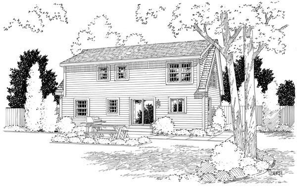Cape Cod, Coastal, Country, Traditional House Plan 34077 with 4 Beds, 3 Baths Rear Elevation