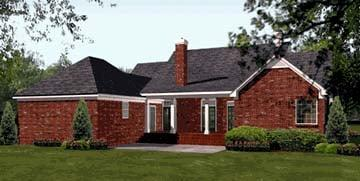 Colonial, European, Southern House Plan 40019 with 3 Beds, 3 Baths, 2 Car Garage Rear Elevation