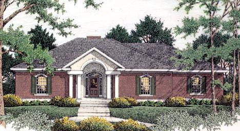 Colonial, European House Plan 40021 with 3 Beds, 2 Baths, 2 Car Garage Elevation
