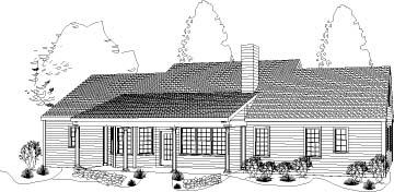 Colonial, Ranch House Plan 40022 with 3 Beds, 2 Baths, 2 Car Garage Rear Elevation