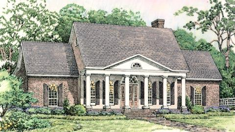 Colonial, European, Southern House Plan 40024 with 3 Beds, 3 Baths, 2 Car Garage Elevation