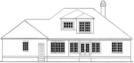 Colonial House Plan 40030 with 3 Beds, 2 Baths, 2 Car Garage Rear Elevation
