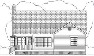 Cape Cod, Country House Plan 40032 with 3 Beds, 2 Baths, 2 Car Garage Rear Elevation