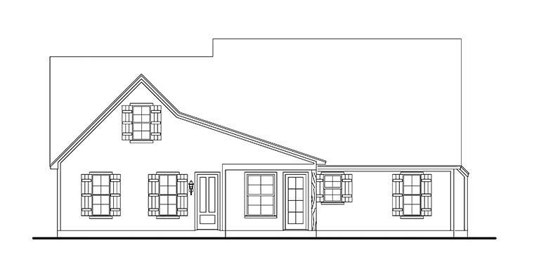 Cabin, Cottage, Country, Farmhouse, Southern, Traditional House Plan 40041 with 3 Beds, 2 Baths, 2 Car Garage Rear Elevation