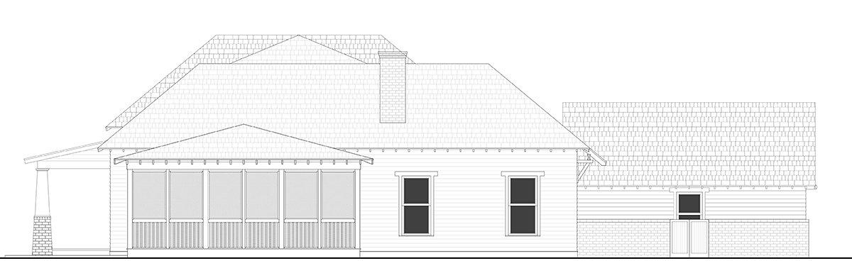 Bungalow, Cottage, Country, Craftsman, Farmhouse, Southern, Traditional House Plan 40103 with 4 Beds, 4 Baths, 2 Car Garage Rear Elevation