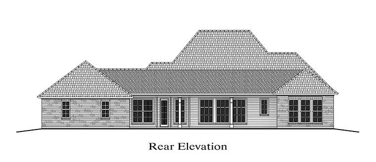 Colonial, French Country, Southern House Plan 40311 with 4 Beds, 3 Baths, 3 Car Garage Rear Elevation