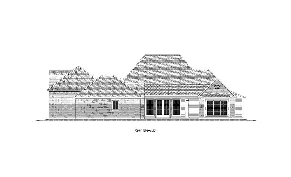 Country, French Country, Southern House Plan 40336 with 4 Beds, 5 Baths, 3 Car Garage Rear Elevation