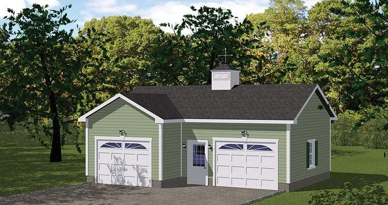 Traditional 2 Car Garage Plan 40658 Elevation
