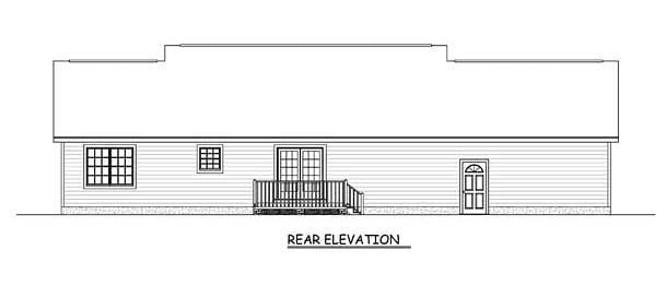 Country, Ranch, Traditional House Plan 40675 with 3 Beds, 2 Baths, 2 Car Garage Rear Elevation