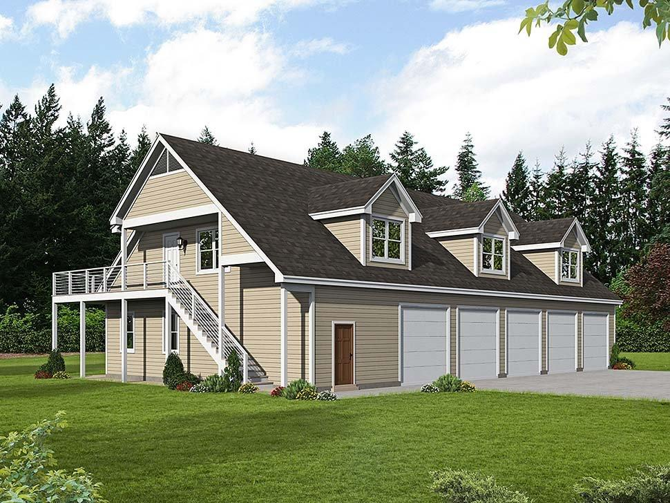 Country, Traditional Garage-Living Plan 40801 with 2 Beds, 3 Baths, 5 Car Garage Elevation