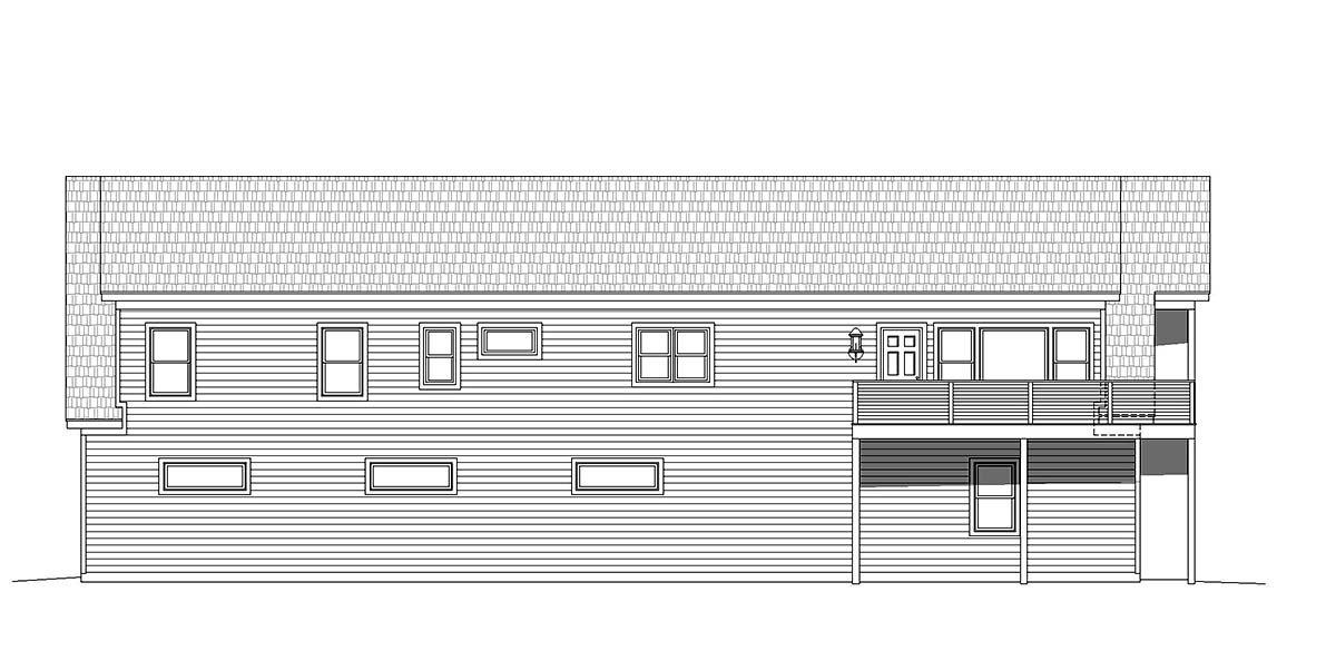 Country, Traditional Garage-Living Plan 40801 with 2 Beds, 3 Baths, 5 Car Garage Rear Elevation