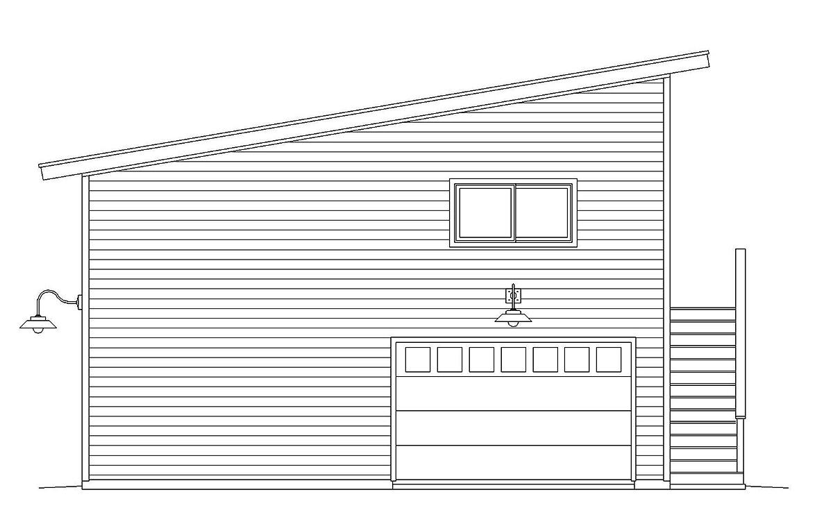 Contemporary, Modern Garage-Living Plan 40869, 2 Car Garage Rear Elevation
