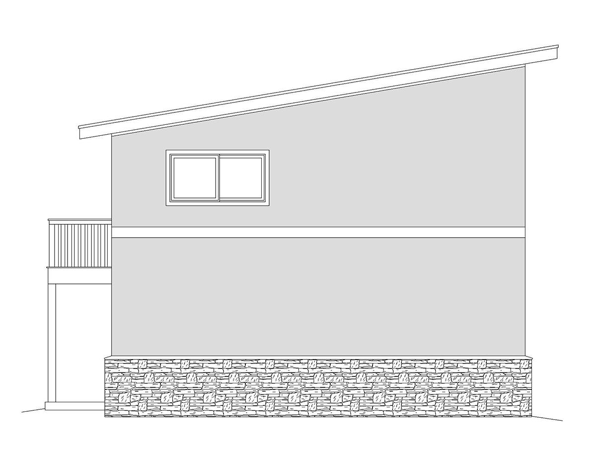 Contemporary, Modern 2 Car Garage Plan 40870, RV Storage Rear Elevation