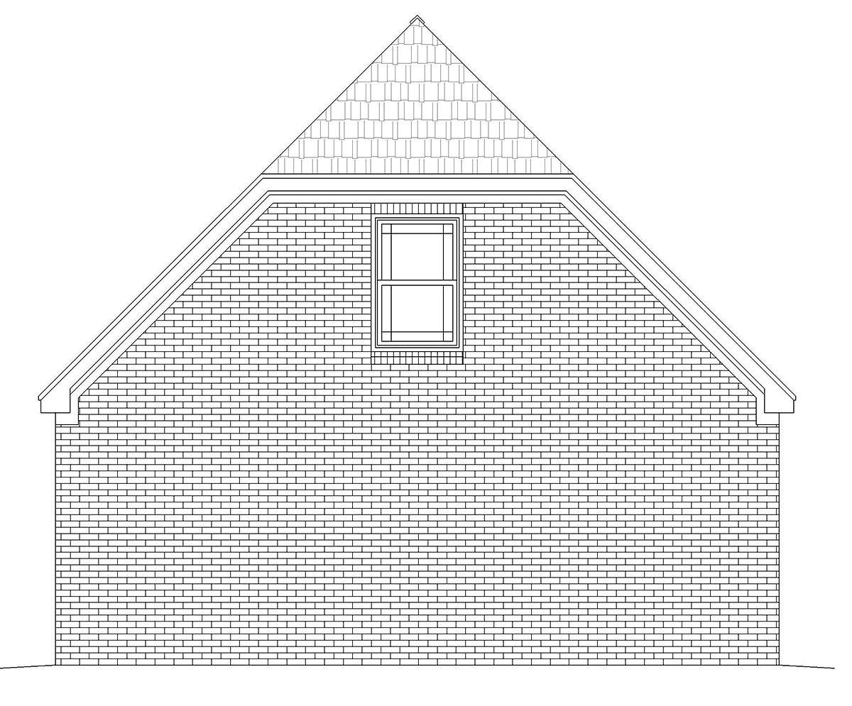 Country, French Country, Traditional 2 Car Garage Plan 40886 Rear Elevation