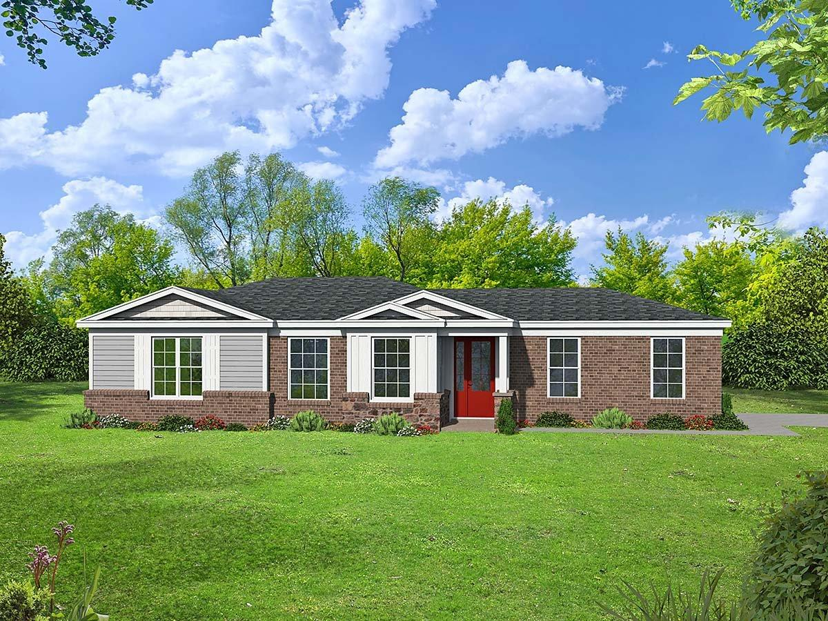 Country, Ranch, Traditional House Plan 40887 with 1 Beds, 2 Baths, 1 Car Garage Elevation