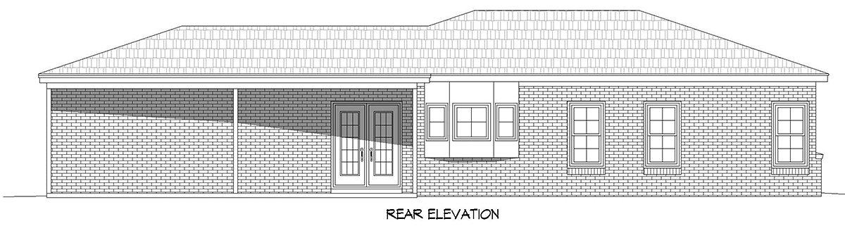 Country, Ranch, Traditional House Plan 40887 with 1 Beds, 2 Baths, 1 Car Garage Rear Elevation
