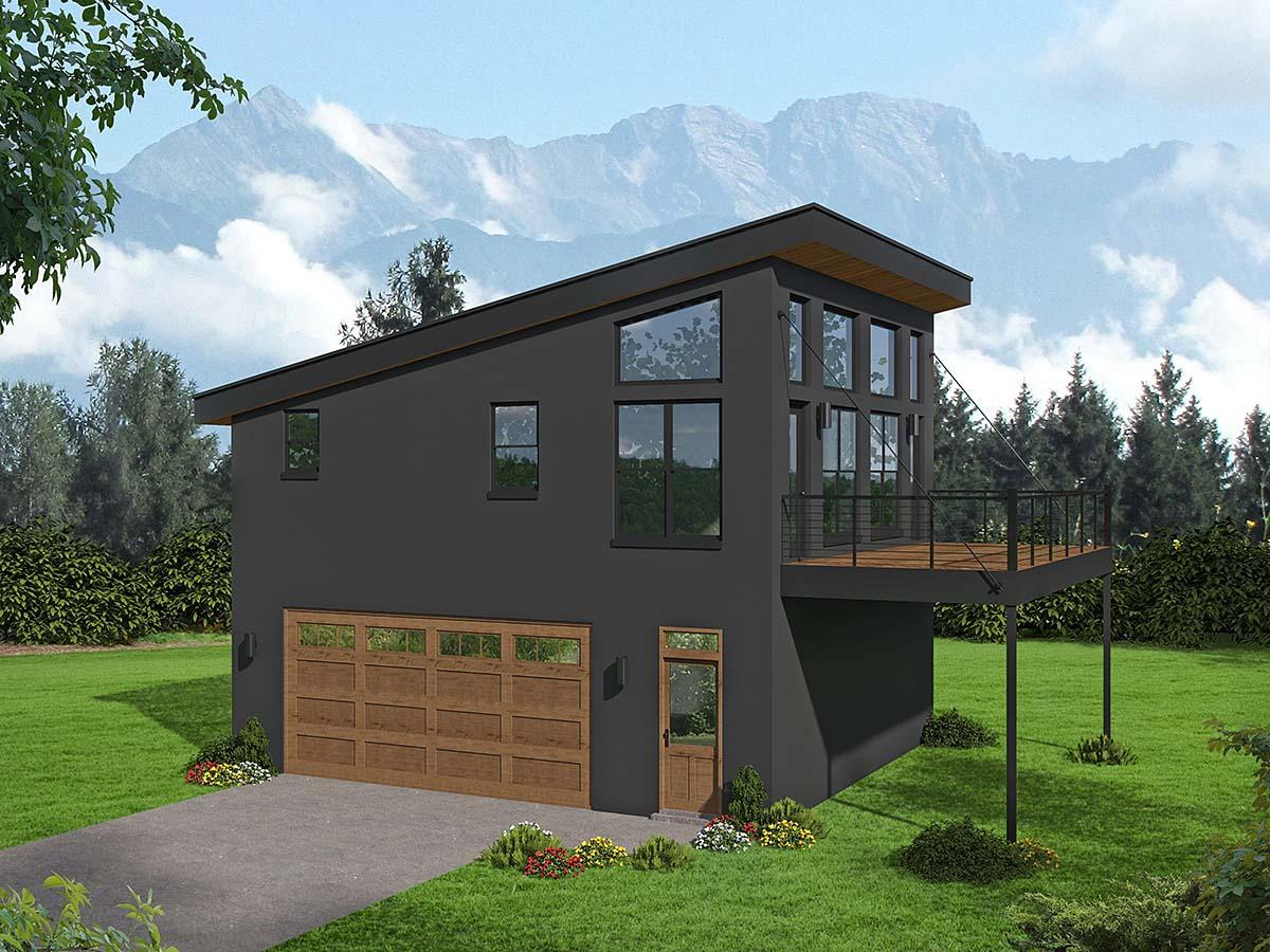 Contemporary, Modern Garage-Living Plan 40897 with 1 Beds, 1 Baths, 2 Car Garage Elevation