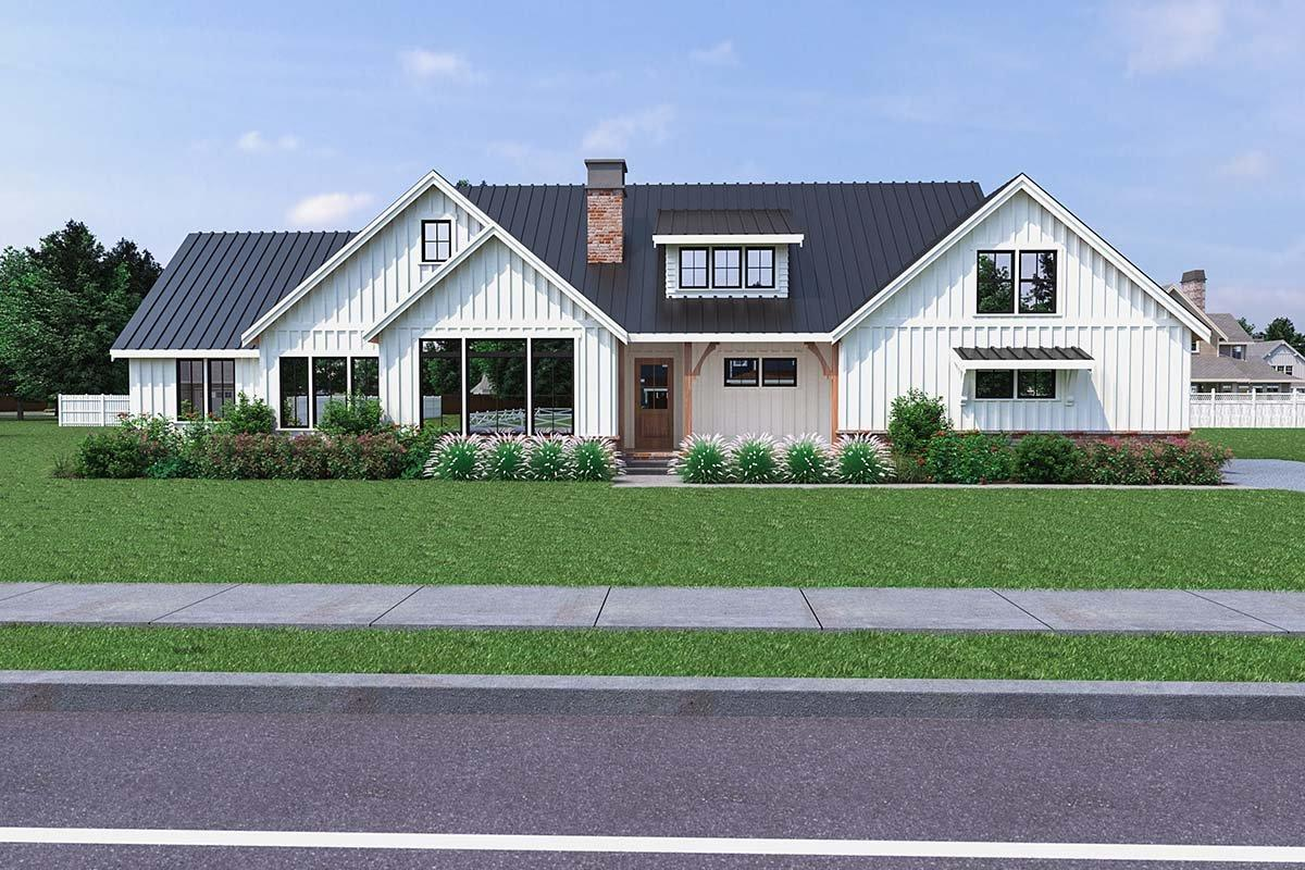 Contemporary, Farmhouse House Plan 40906 with 3 Beds, 3 Baths, 2 Car Garage Elevation