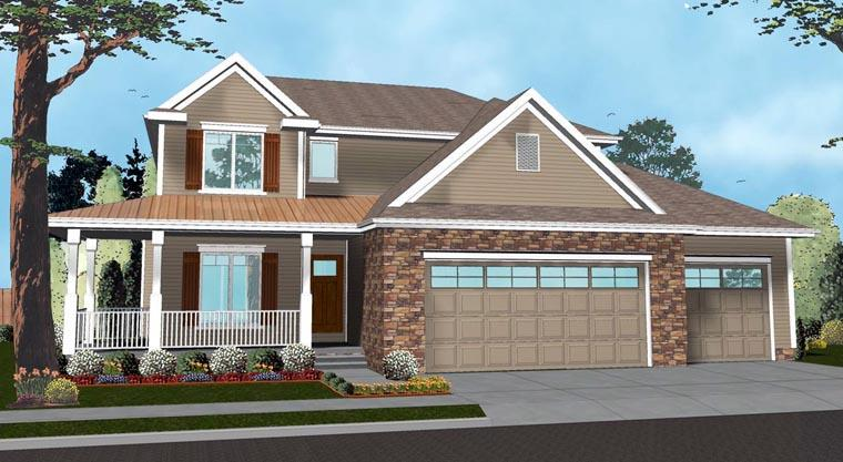 Farmhouse, Traditional House Plan 41143 with 4 Beds, 3 Baths, 3 Car Garage Elevation