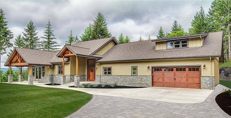 Bungalow, Country, Craftsman, Ranch House Plan 41200 with 3 Beds, 4 Baths, 2 Car Garage Elevation