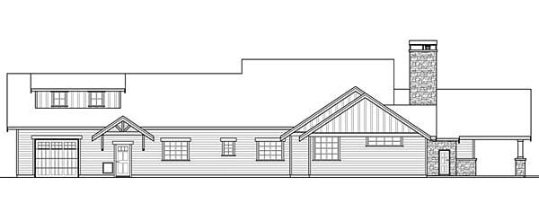 Bungalow, Country, Craftsman, Ranch House Plan 41200 with 3 Beds, 4 Baths, 2 Car Garage Rear Elevation