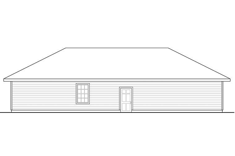 Country 2 Car Garage Apartment Plan 41297 with 1 Beds, 1 Baths Rear Elevation