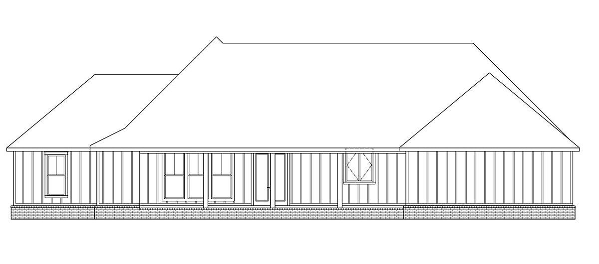 Country, Farmhouse, Traditional House Plan 41402 with 3 Beds, 3 Baths, 2 Car Garage Rear Elevation