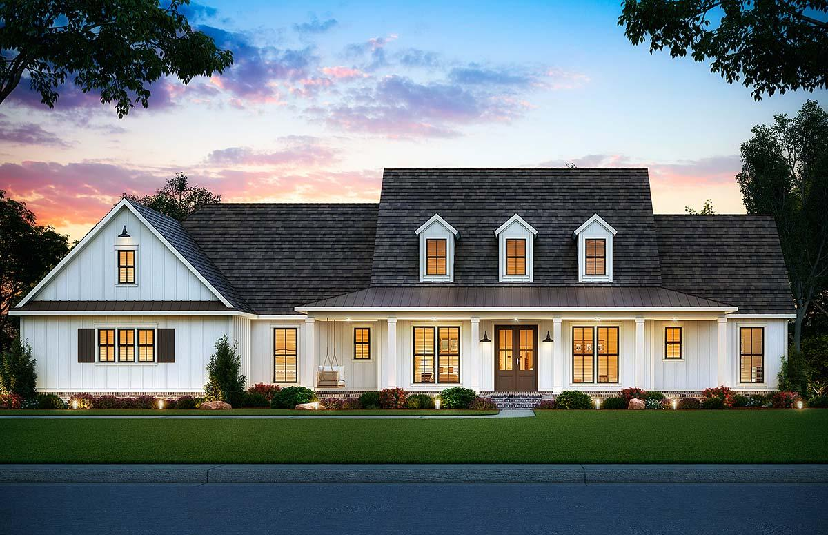 Country, Farmhouse House Plan 41406 with 5 Beds, 4 Baths, 3 Car Garage Elevation