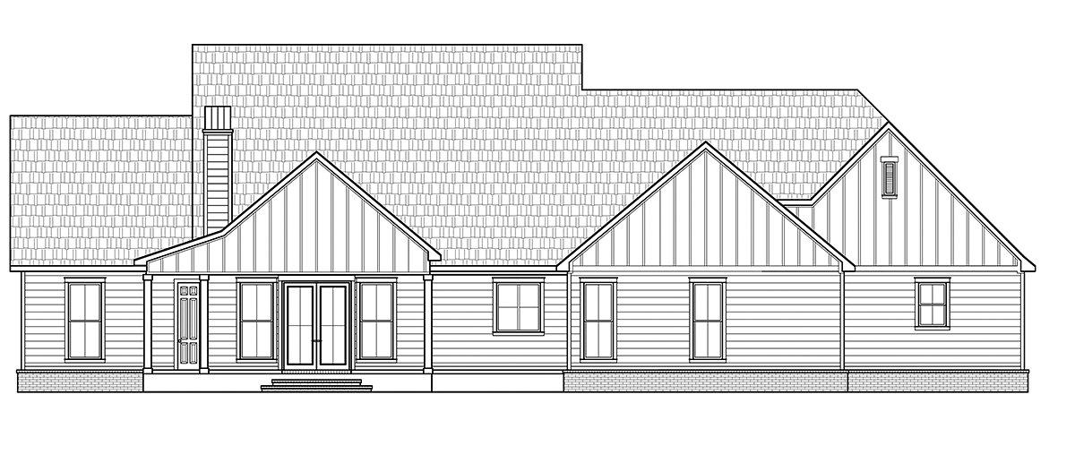 Country, Farmhouse House Plan 41406 with 5 Beds, 4 Baths, 3 Car Garage Rear Elevation