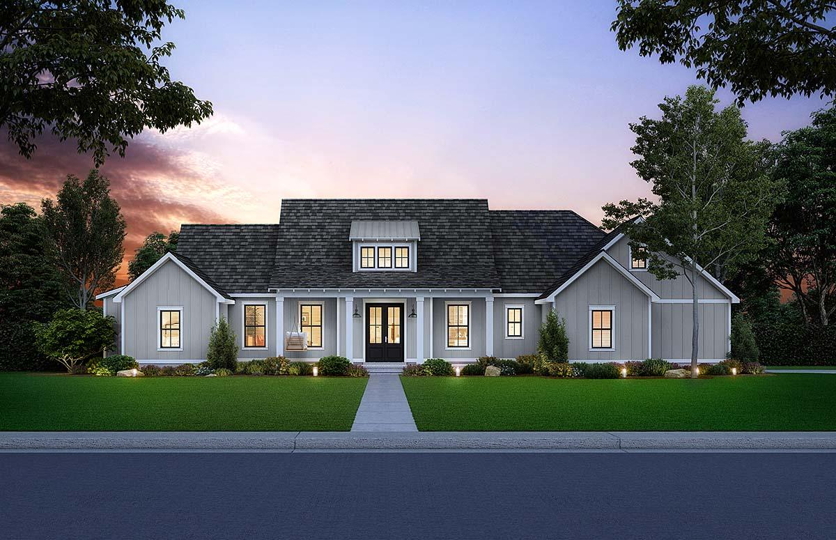Country, Farmhouse, Southern House Plan 41407 with 3 Beds, 3 Baths, 2 Car Garage Elevation