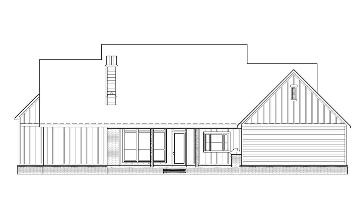 Country, Farmhouse House Plan 41418 with 4 Beds, 4 Baths, 3 Car Garage Rear Elevation