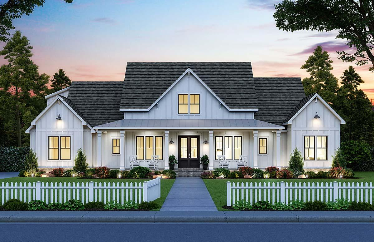 Country, Farmhouse House Plan 41419 with 4 Beds, 4 Baths, 3 Car Garage Elevation