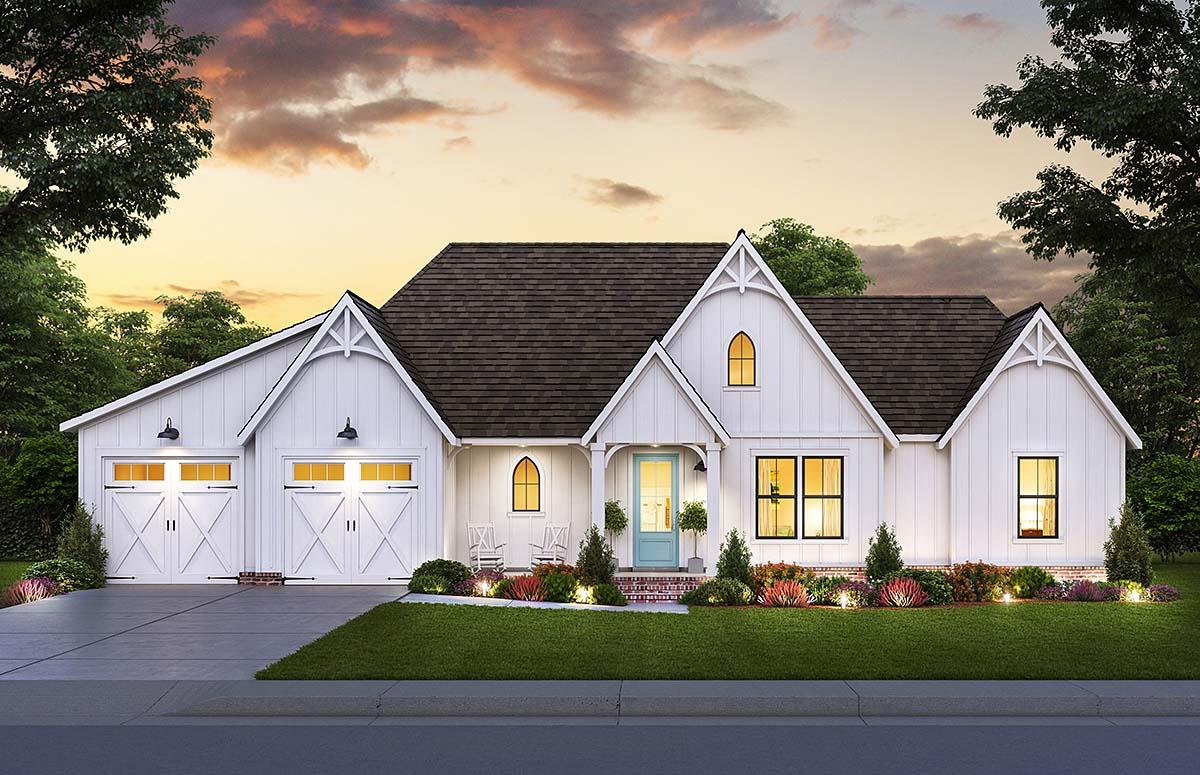 Country, Farmhouse House Plan 41428 with 3 Beds, 2 Baths, 2 Car Garage Elevation