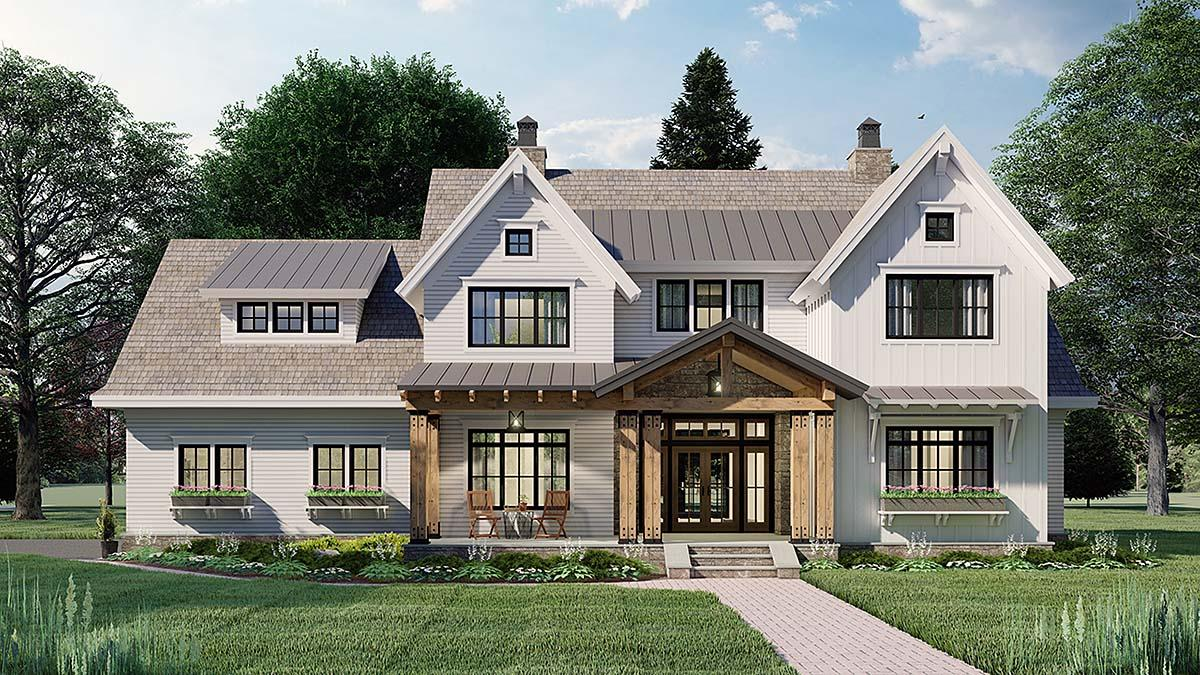 Farmhouse House Plan 41901 with 4 Beds, 4 Baths, 2 Car Garage Elevation