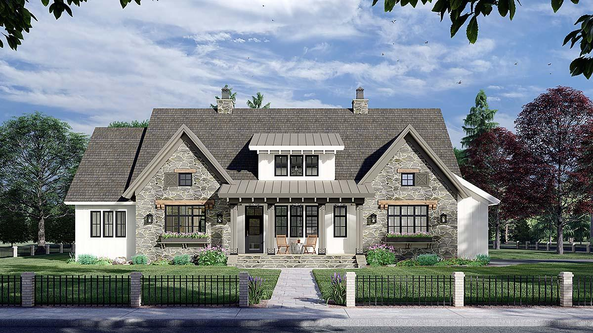 Farmhouse House Plan 41902 with 4 Beds, 4 Baths, 2 Car Garage Elevation