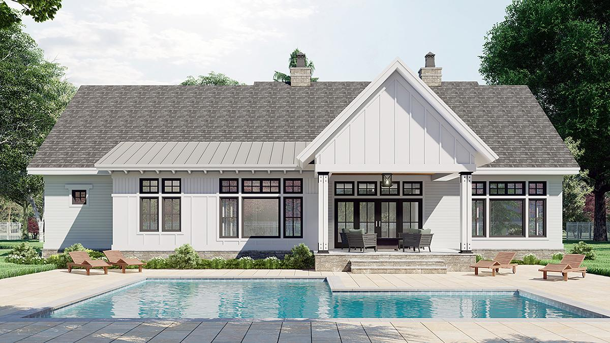 Country House Plan 41911 with 3 Beds, 3 Baths, 2 Car Garage Rear Elevation