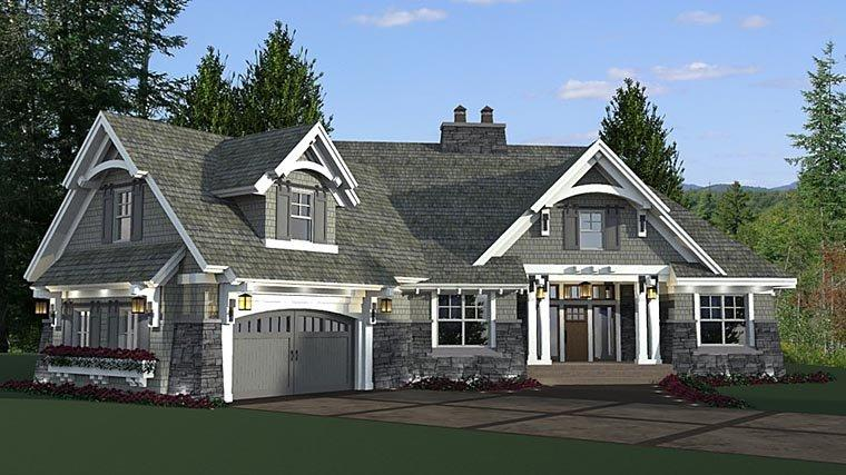 Bungalow, Cottage, Craftsman, French Country, Tudor House Plan 42679 with 4 Beds, 3 Baths, 2 Car Garage Elevation
