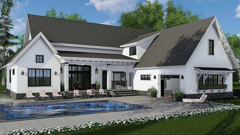 Country, Farmhouse, Traditional House Plan 42690 with 4 Beds, 3 Baths, 2 Car Garage Rear Elevation