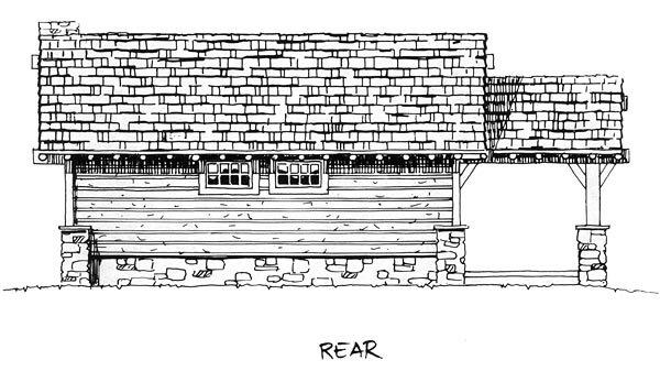Cabin, Cottage, Craftsman House Plan 43204 with 2 Beds, 2 Baths Rear Elevation
