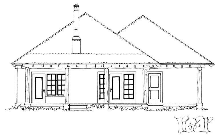 Country, Ranch House Plan 43215 with 1 Beds, 1 Baths, 2 Car Garage Rear Elevation